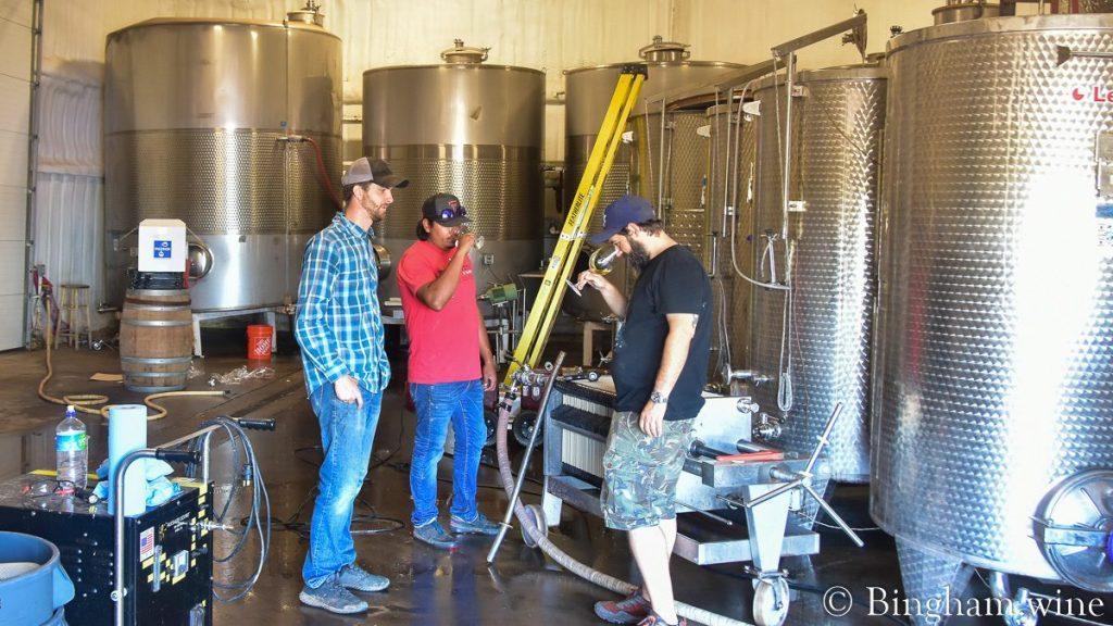 Sam Jennings, Daniel Bingham, and Rogelio Orocio filtering and tasting wine at Bingham Family Vineyards Winery, Meadow, Texas.