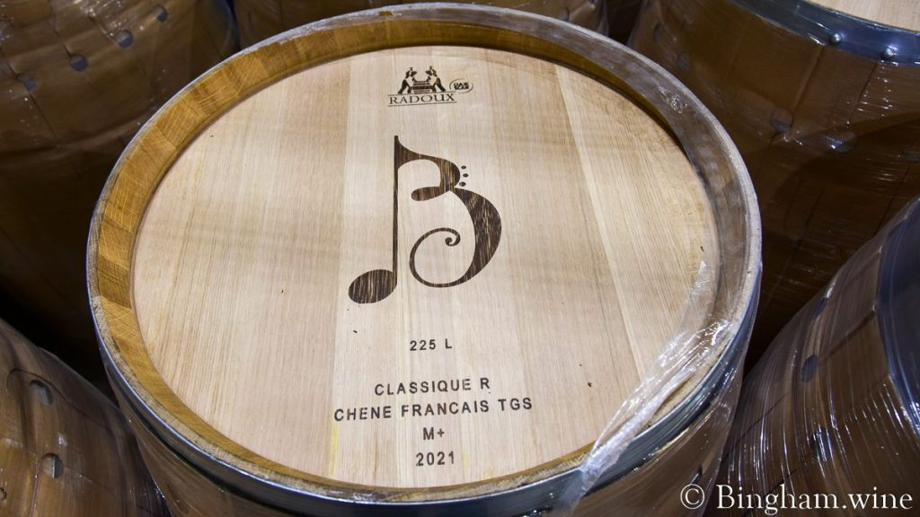 Barrel with Bingham Family Vineyards logo branded on the lid.