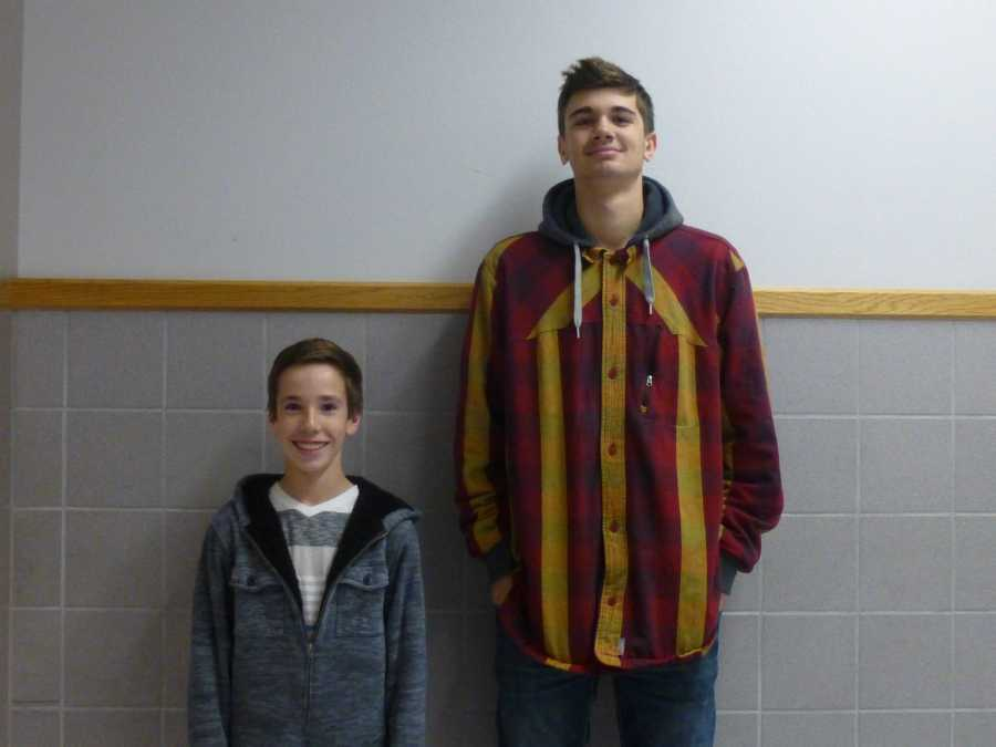 Braden+Broadbent+and+Brandon+Morley+display+the+great+differences+in+their+heights.+