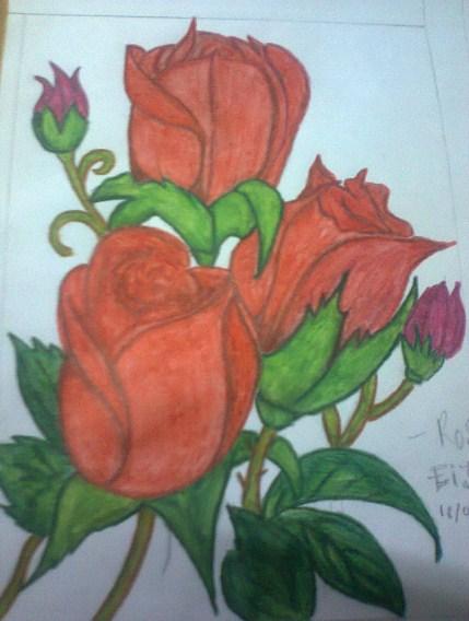 Gambar Sketsa Lukisan Bunga Mawar Dp Bbm Interiorhalloweenco