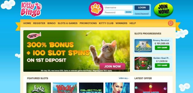 Kitty Bingo's homepage is nice and easy on the eye!
