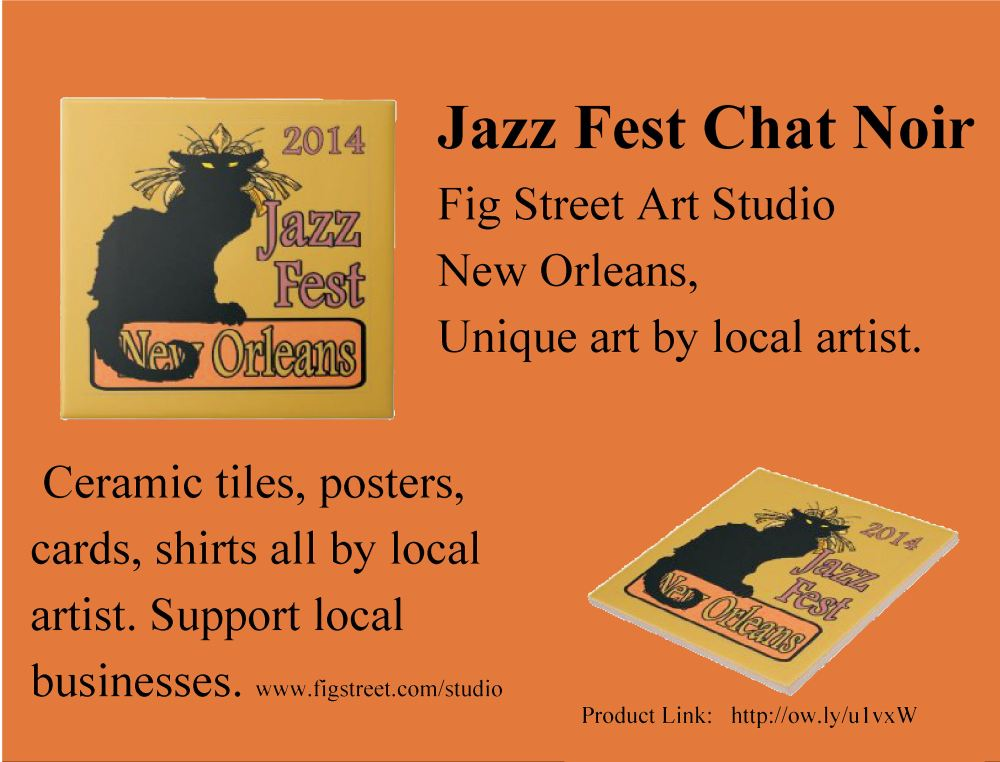 Jazz Fest New Orleans 2014 Chat Noir Poster & Tees  (4/4)