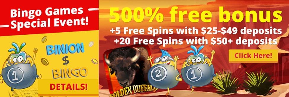 Get 20 Free spins and amazing 500% deposit bonuses at BonusBingo