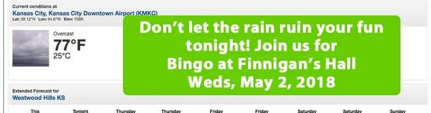 Bingo still on for tonight, Weds, May 2, 2018