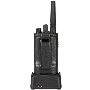 motorola XT420 walkie talkie met clip in lader achterkant