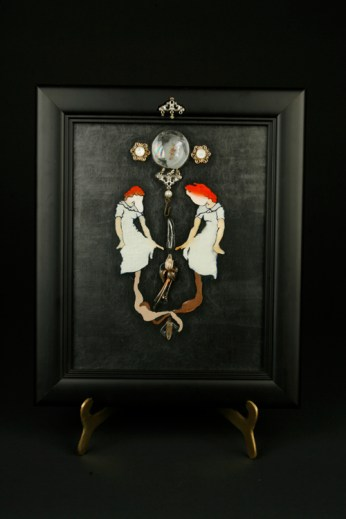 The Confused Narcissist | oil and found objects on glass and wood frame