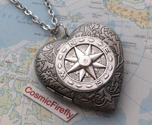 Steampunk compass Valentine's Heart Locket.