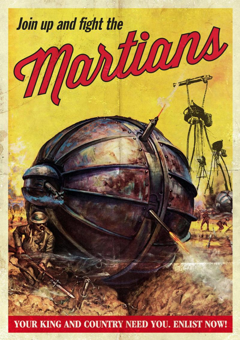 Retro Steampunk Join Up and Fight The Martians Art Print Photograph credited to Movie Maniacs Design.