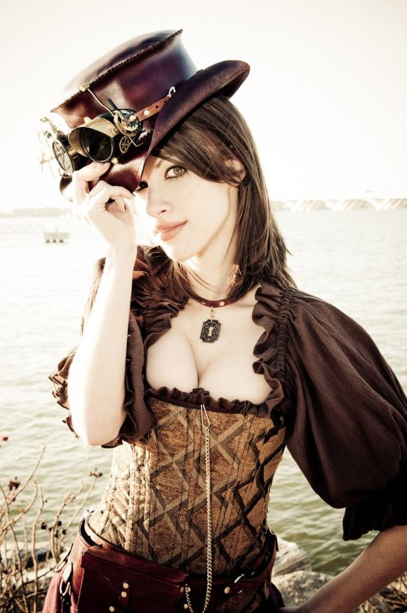 Steampunk Victorian Brown and Gold Corset.