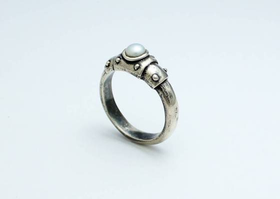 Bond Together Steampunk Sterling Silver Ring With Pearl. Created by ALLUDIO.