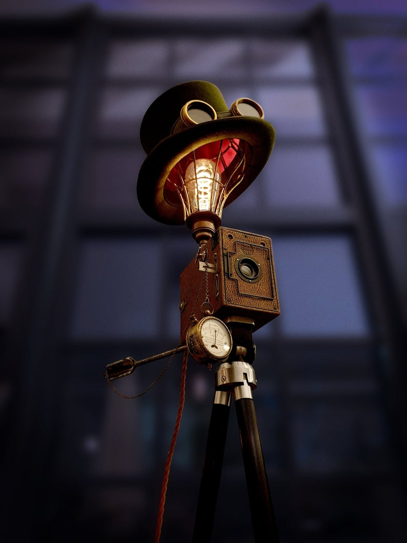 Handmade Upcycled Vintage 1920s Camera Steampunk Top Hat Tripod Lamp