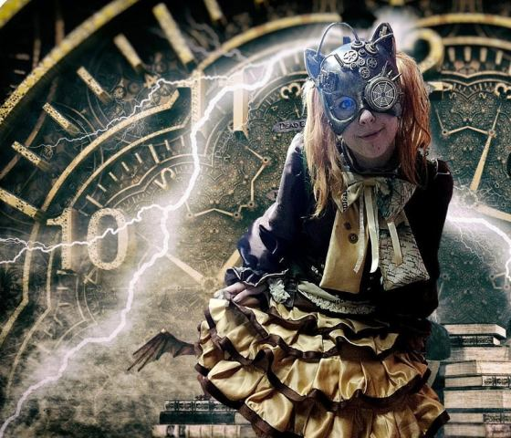 Steampunk Bronze Satin Outfit With Cat Mask Created by ALG Costumiere.
