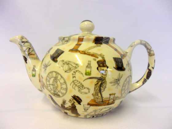 2 cup teapot in Steampunk design by Heron Cross Pottery. Sold by Herons Secret Attic.