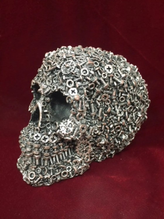 Steampunk Skull With Gear Machinery. Created by Osiris Craftworks.