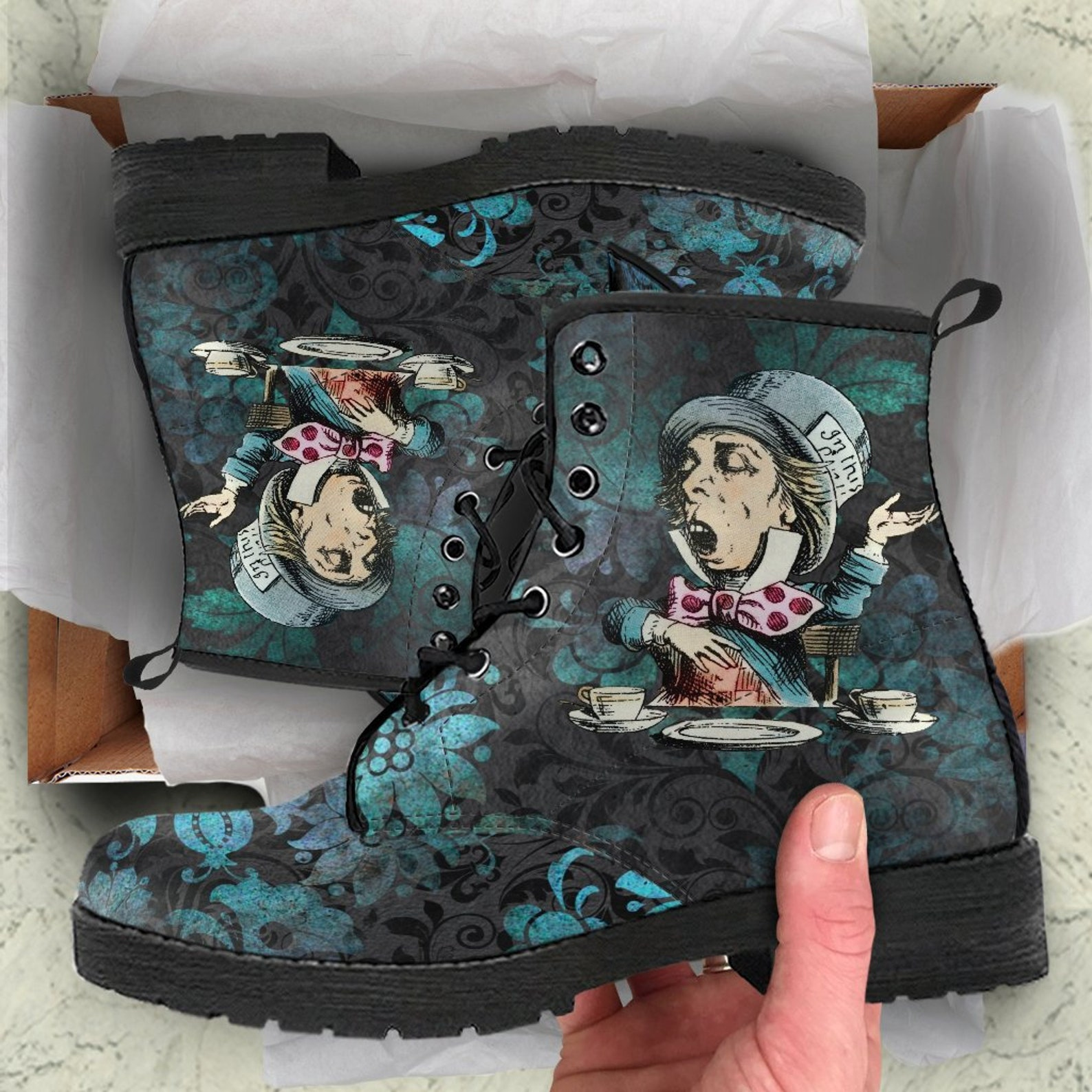 Alice In Wonderland's Mad Hatter -Lace up Festival Bohemian Doc Style Boots.Created by MaWeePet Me Wee Pet