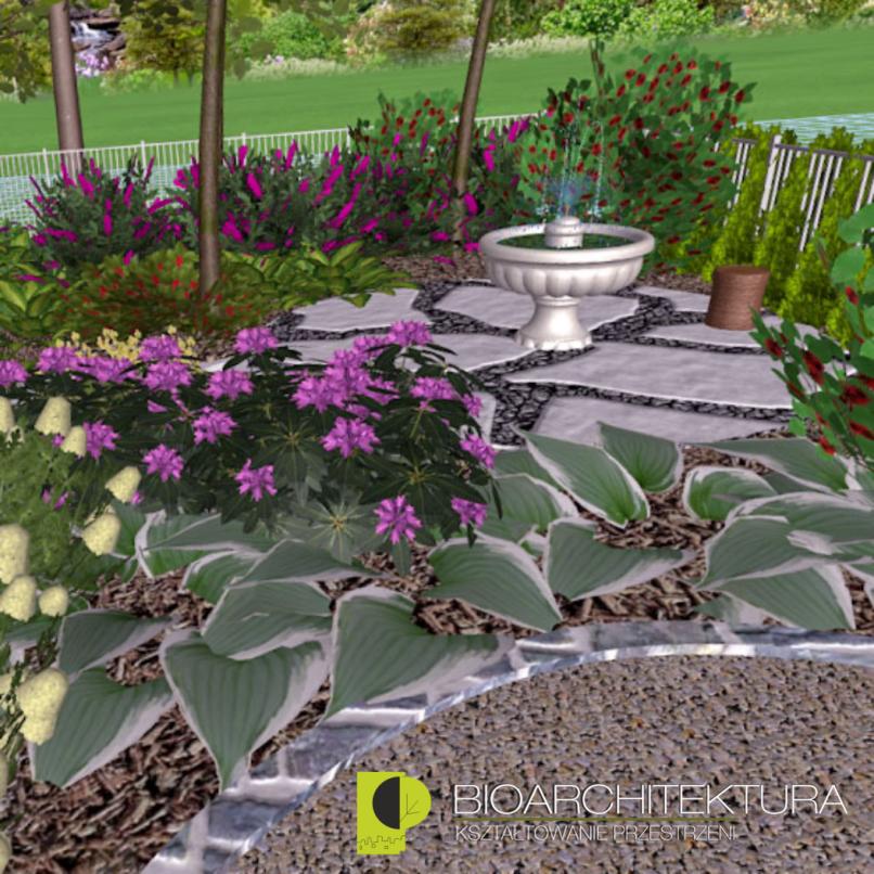 zakątek ogrodowy z fontanną