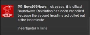 Soundwave Revolution 2011 has been cancelled; fans call bullshit