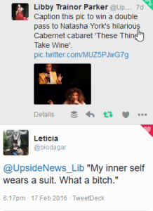 "This image depicts two tweets. At the top is a call out to caption an image featuring a drunk-looking woman and an inset version of her in a suit. The tweet below has a caption that says, ""My inner self wears a suit. What a bitch."""