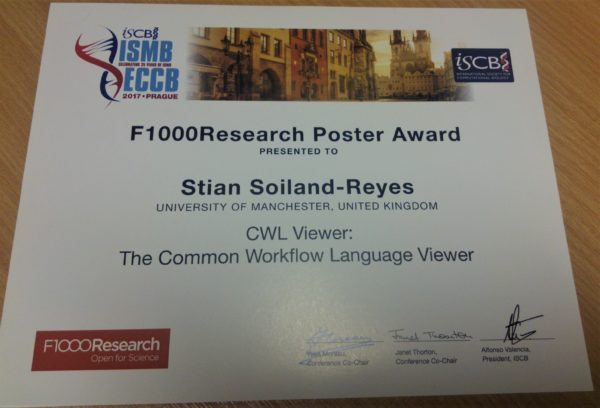 ISMB/ECCB 2017 F1000 Poster Award presented to Stian Soiland-Reyes. CWL Viewer: The Common Workflow Language Viewer