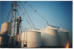 Silos full of grain.