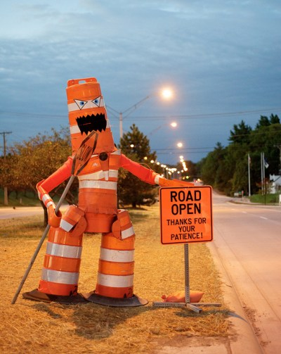 Construction barrel monster. Image by Eric Merrill via Flickr.
