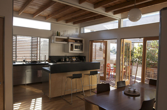 sustainable kitchen open windows
