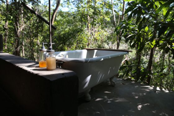 bathtub outdoors