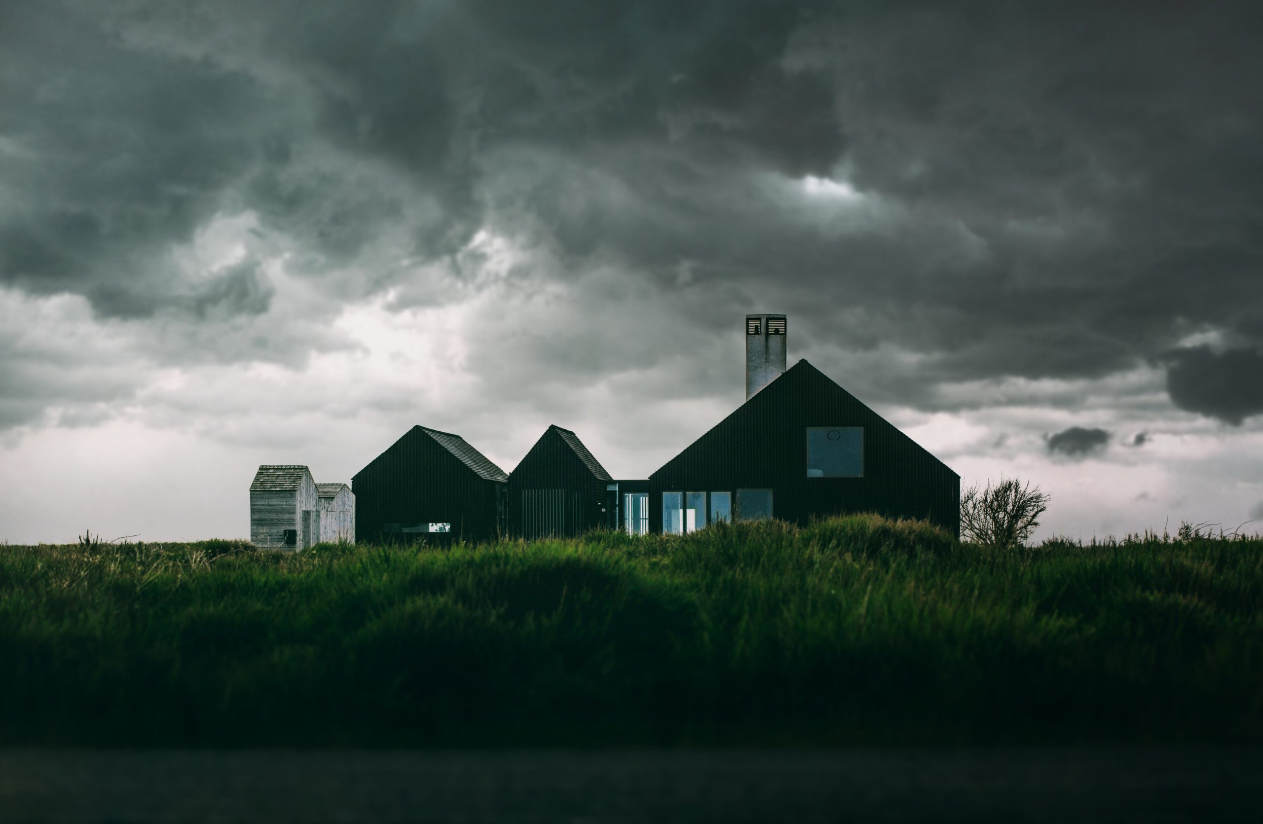 house with storm coming