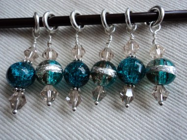 Blue beaded stitch markers