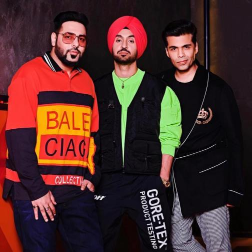 Diljit Dosanjh with Badshah and Karan Johar