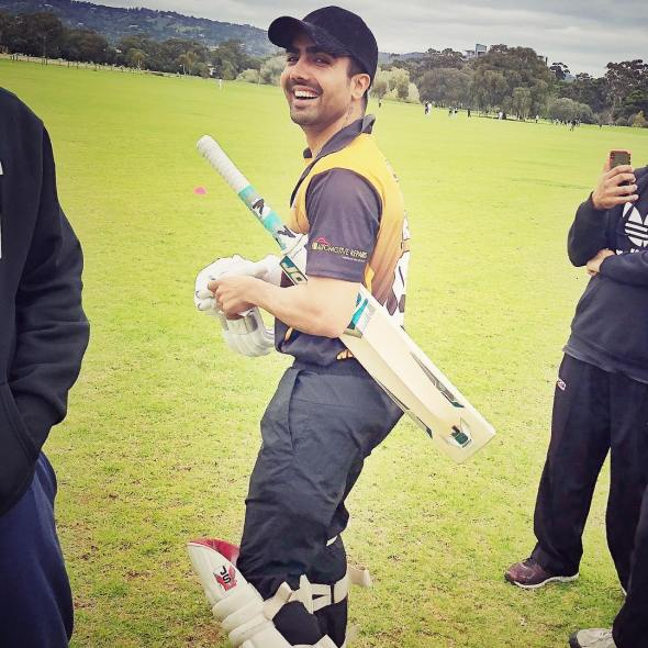 Hardi sandhu while playing cricket