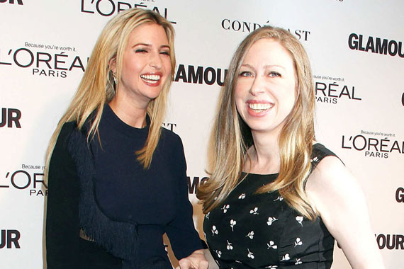 Ivanka Trump and Chelsea clinton laughing at an event.