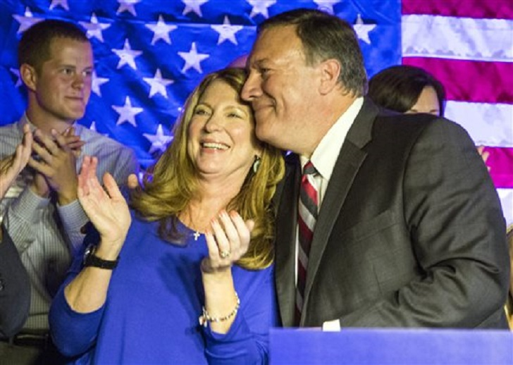Mike Pompeo, incumbent candidate for 4th District Congress, with wife Susan