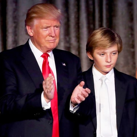 Donald Trump with his youngest son Barron Trump.