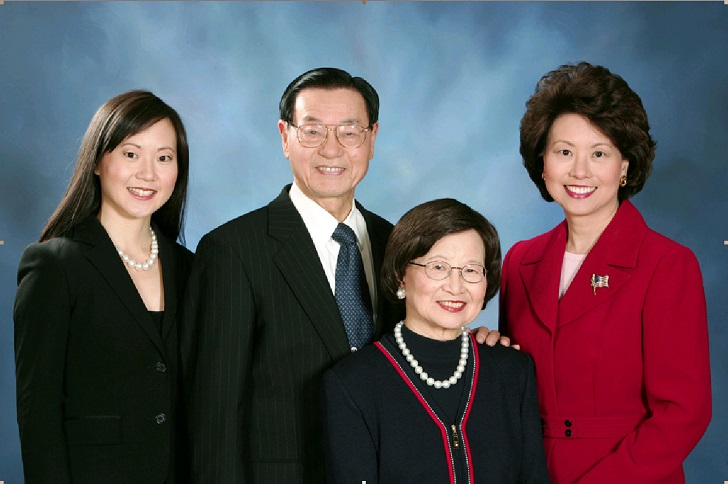 Elaine L. Chao with her mother, Ruth Mulan Chu Chao, father, Dr. James S. C. Chao, and sister, Angela Chao.