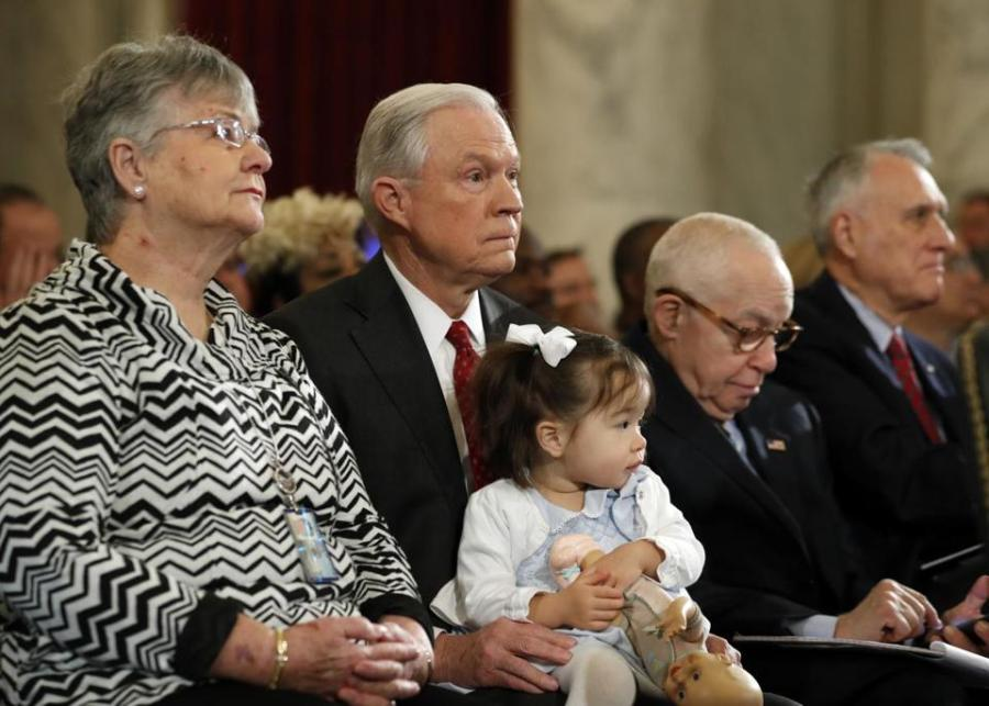 Jeff Sessions with his wife in a formal event.