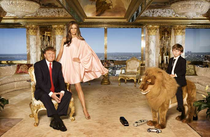 Barron Trump has huge Lion as a toy in his room.
