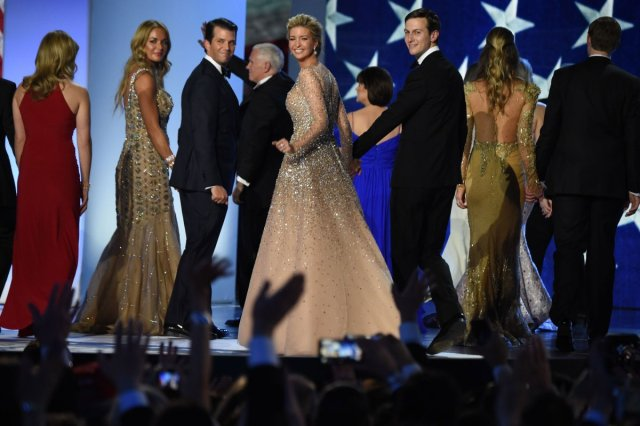 Vanessa and Donald Trump Jr, Ivanka Trump and Jared Kushner salute the crowd after dancing on stage during the Freedom ball at the Walter E. Washington Convention Center on January 20, 2017 in Washington, DC.