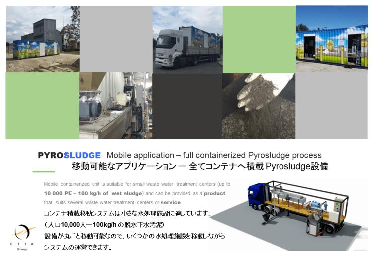 ンテナ積載移動可能 pyrosludge 有機汚泥、下水汚泥 乾燥、熱分解システム アプリケーション biogreen 2017.11.9