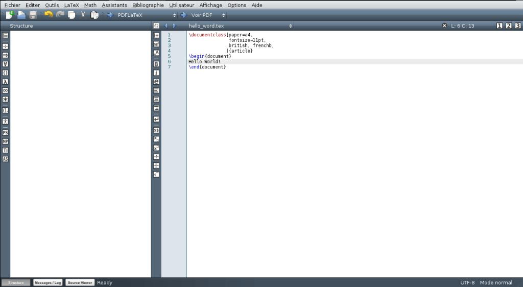 Fenêtre de Texmaker le code LaTeX précisé plus haut indiqué plus haut.