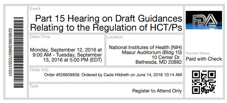 FDA Public Hearing Stem Cells