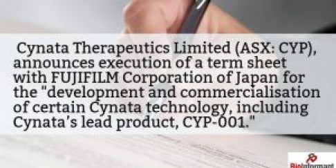 Cynata Signs Term Sheet with FUJIFILM