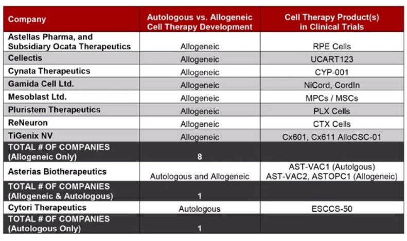 allogeneic cell therapy | Are Cell Therapy Companies Prioritizing Autologous or Allogeneic Therapies?