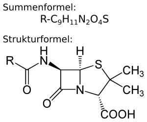Penicillin Kernstruktur. Summenformel R-C9H11N2O4S und Strukturformel