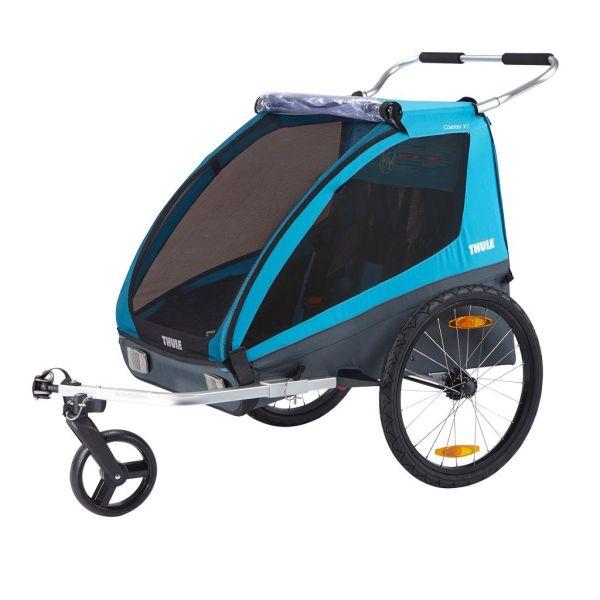 Thule Coaster XT plava dječja kolica i prikolica za bicikl za dvoje djece