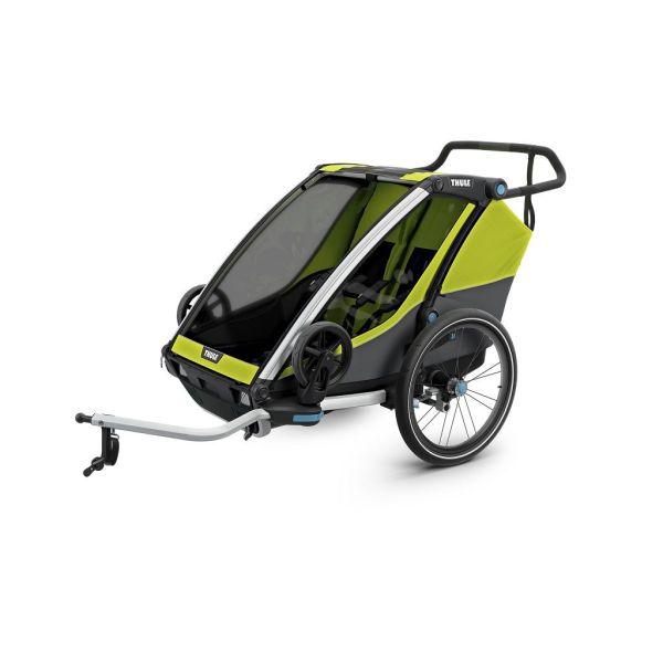 Thule Chariot Cab 2 zeleno/siva dječja kolica za dvoje djece