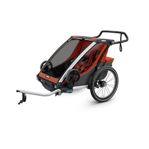 Thule Chariot Cross 2 narančasto/siva dječja kolica za dvoje djece
