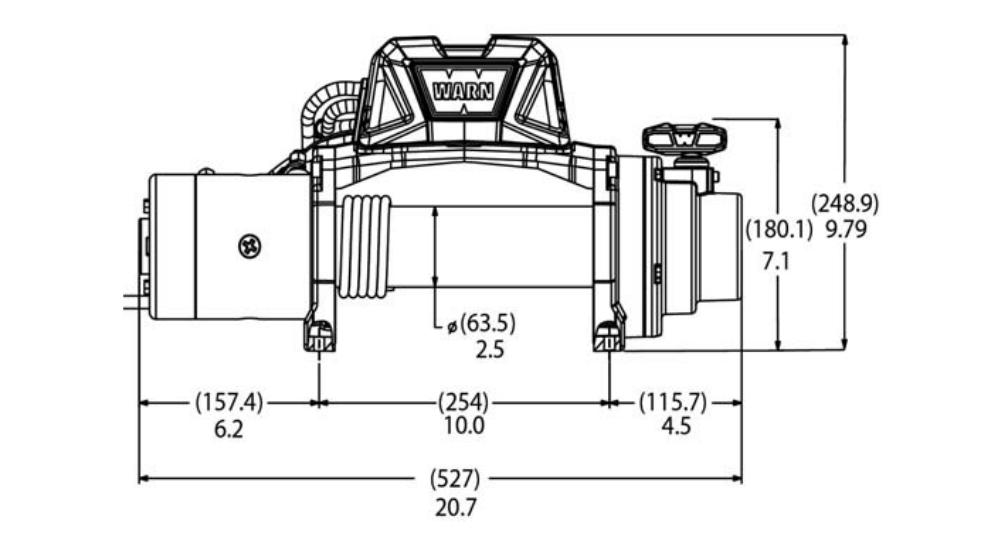 Vitlo Warn Tabor 8, 12V, 3.629kg bez sajle i vodilice s žičnim daljinskim