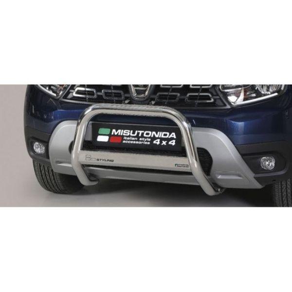 Misutonida Bull Bar Ø63mm inox srebrni za Dacia Duster 2018 s EU certifikatom