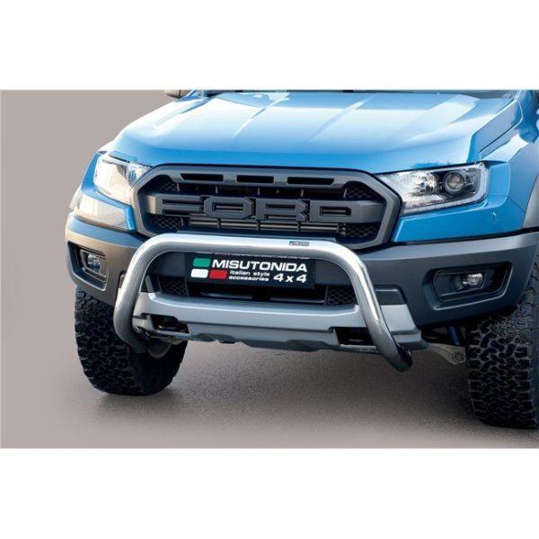 Misutonida Bull Bar Ø76mm inox srebrni za Ford Ranger Raptor 2019 s EU certifikatom